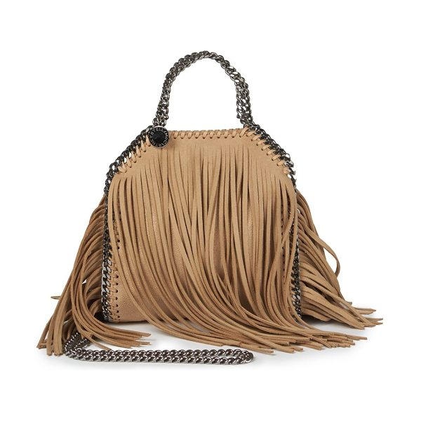 Stella McCartney Tiny bella fringe foldover shoulder bag in gold - Long, swingy faux suede fringes inject a Bohemian vibe...