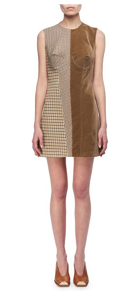 Stella McCartney Velvet & Check Bustier Minidress in tan - Stella McCartney minidress juxtaposing mixed checks with...
