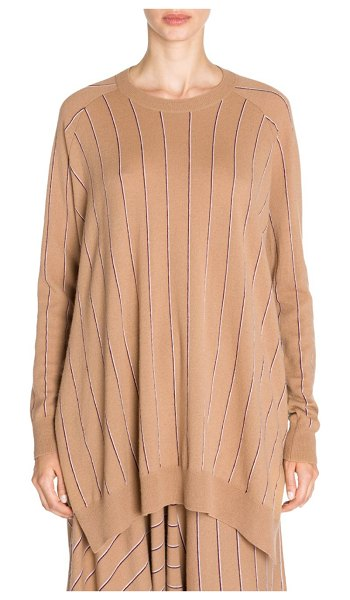 Stella McCartney wool pinstripe knit high-low jumper in copper