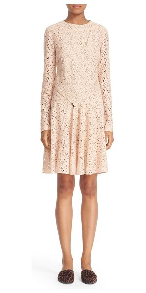 Stella McCartney zipper detail cotton blend lace dress in rose - Decorative zippers add fresh, unexpected angles to this...