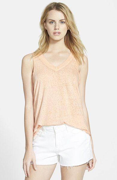 Stem flowy lightweight v-neck tank in pink coho - Soft gathers sweep down the drapey back panel of a...
