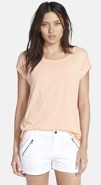 Stem high/low knit tunic top in pink coho - A soft knit shapes this breezy short-sleeve tee...