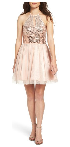 Steppin Out sequin halter skater dress in dusty coral/ silver - Metallic sequins light up the halter bodice of a sweet...