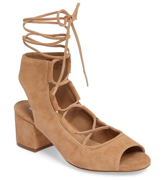 Steve Madden admire block heel sandal in sand suede - Ghillie-inspired lacing crosses the scooped-out top of a...