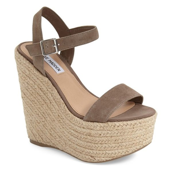 Steve Madden alyssa espadrille wedge sandal in taupe suede - Ropy espadrille trim wraps the superchunky wedge and...
