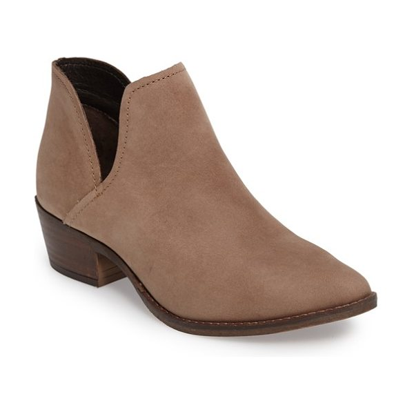 Steve Madden 'austin' bootie in stone nubuck leather - Deep, striking side cutouts style a beautifully...