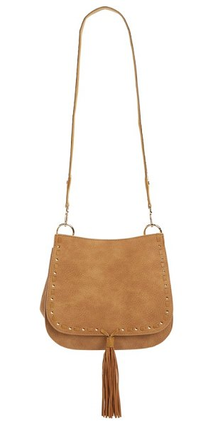STEVE MADDEN 'b swiss' faux leather saddle bag - Polished cone studs and whipstitched trim frame the flap...
