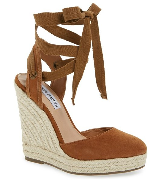 Steve Madden barre espadrille platform wedge in tan suede - Wraparound ankle laces balance orderly rows of braided...