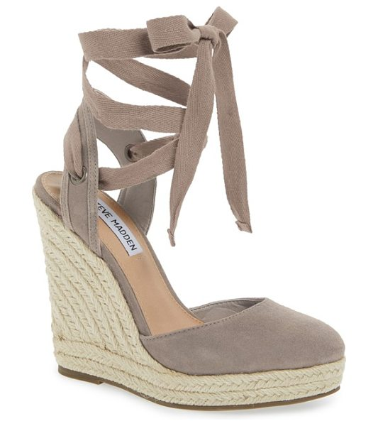 Steve Madden barre espadrille platform wedge in taupe suede - Wraparound ankle laces balance orderly rows of braided...