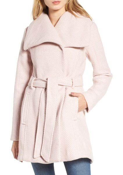 Steve Madden belted waffle woven coat in blush - Subtle waffle texture adds tactile dimension to this...
