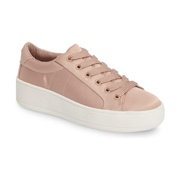 Steve Madden bertie-s platform sneaker in pink satin - Lustrous satin and chunky woven shoelaces elevate a fun,...
