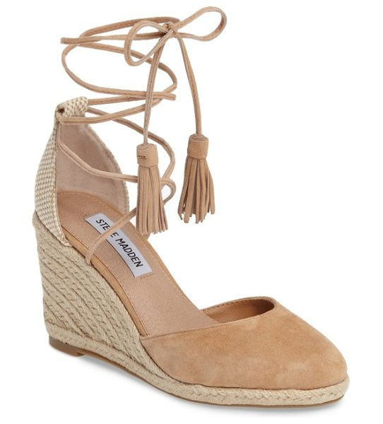Steve Madden bestow wraparound wedge in camel suede - Layers of summery braided jute lift a suede-toe wedge...