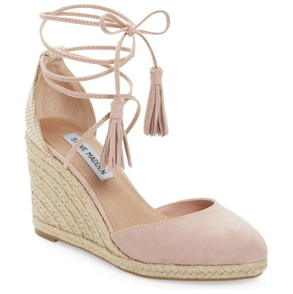 Steve Madden bestow wraparound wedge in pink suede - Layers of summery braided jute lift a suede-toe wedge...
