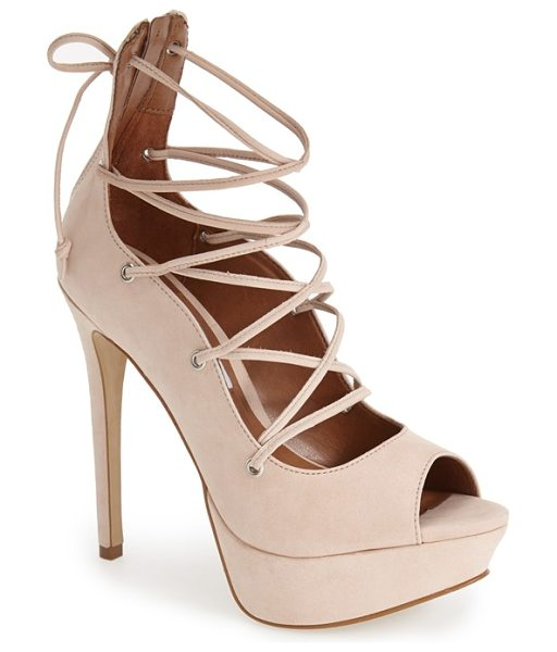 Steve Madden bimmi lace-up pump in nude leather - A peep-toe silhouette refreshes a leather cage pump...