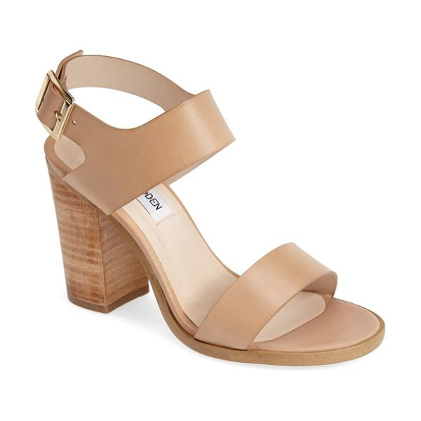 Steve Madden blaair leather slingback sandal in natural leather - A stacked woodgrain heel with a lightly distressed...