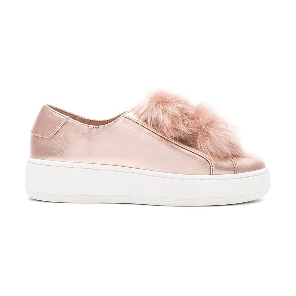 "Steve Madden Breeze Faux Fur Sneaker in metallic copper - ""Metallic leather and faux fur upper with rubber sole...."