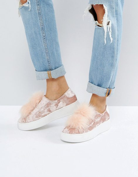 STEVE MADDEN Breeze Velvet Sneakers With Pom - Plimsolls by Steve Madden, Crushed velvet upper, Slip-on...