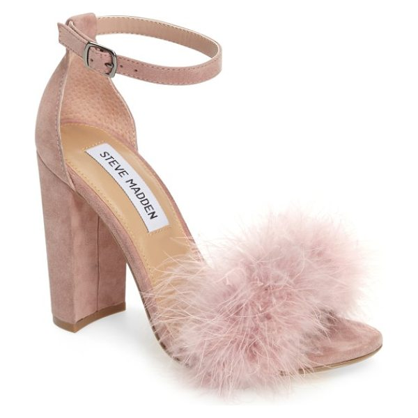 Steve Madden carabu sandal in rose suede - Soft feathers and a block heel update the look of an...
