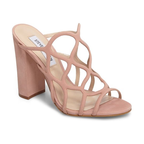 Steve Madden carlita sandal in blush leather - A wavy webbed upper adds funky geometry to this supple...