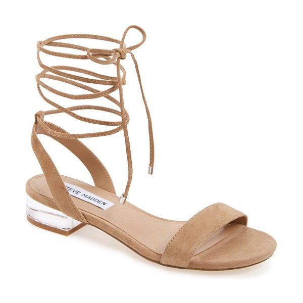 Steve Madden 'carolyn' lace-up sandal in tan suede - A gilt heel catches the light on a contemporary sandal...