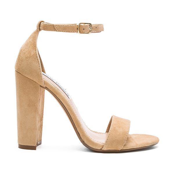 Steve Madden Carrson heel in beige - Suede upper with man made sole. Ankle strap with buckle...