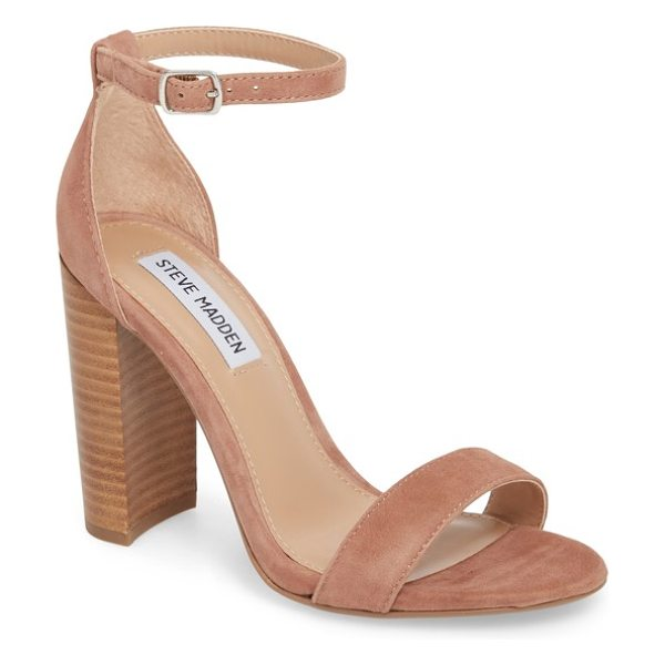 Steve Madden carrson sandal in brown - A minimalist ankle-strap sandal is set on a chunky heel....