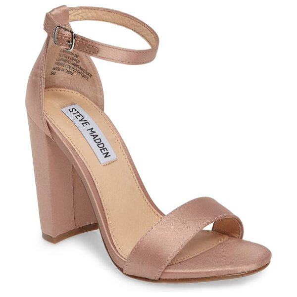 Steve Madden carrson sandal in blush satin - A minimalist ankle-strap sandal is set on a chunky heel....
