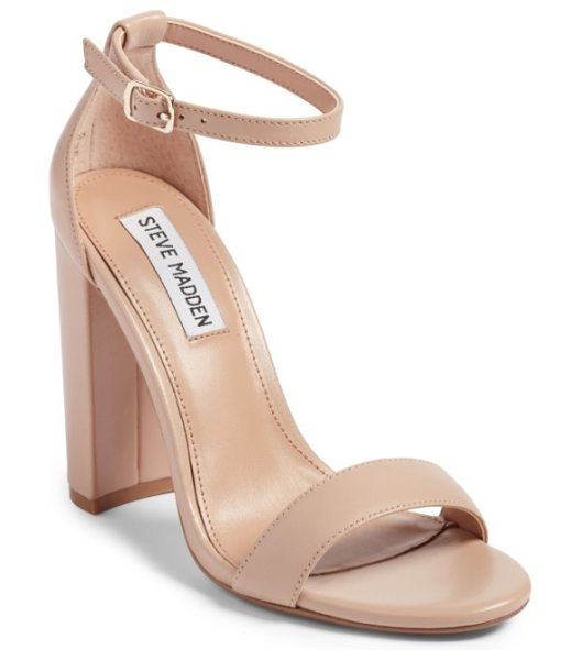 Steve Madden carrson sandal in blush leather - A minimalist ankle-strap sandal is set on a chunky heel....
