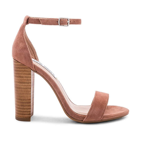 "Steve Madden Carrson Sandal in beige - ""Suede upper with man made sole. Ankle strap with buckle..."