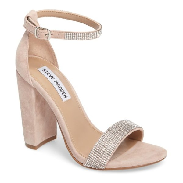 Steve Madden carrson sandal in rhinestone - A minimalist ankle-strap sandal is set on a chunky heel....