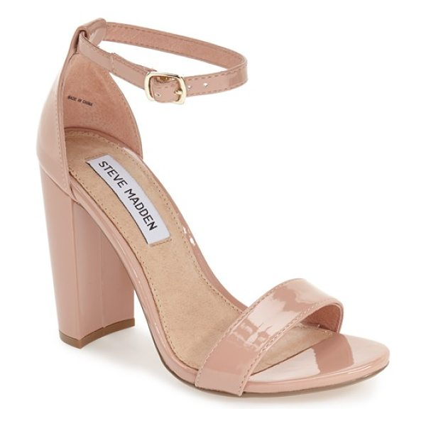 Steve Madden carrson sandal in blush patent - A minimalist ankle-strap sandal is crafted in lush suede...