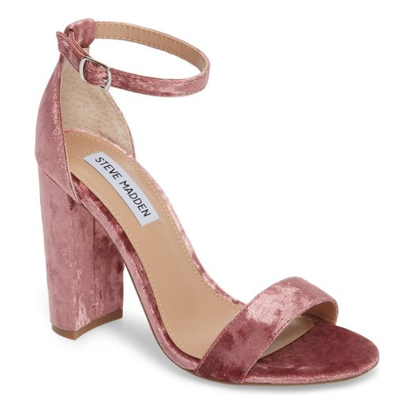 Steve Madden carrson sandal in pink velvet - A minimalist ankle-strap sandal is set on a chunky heel....