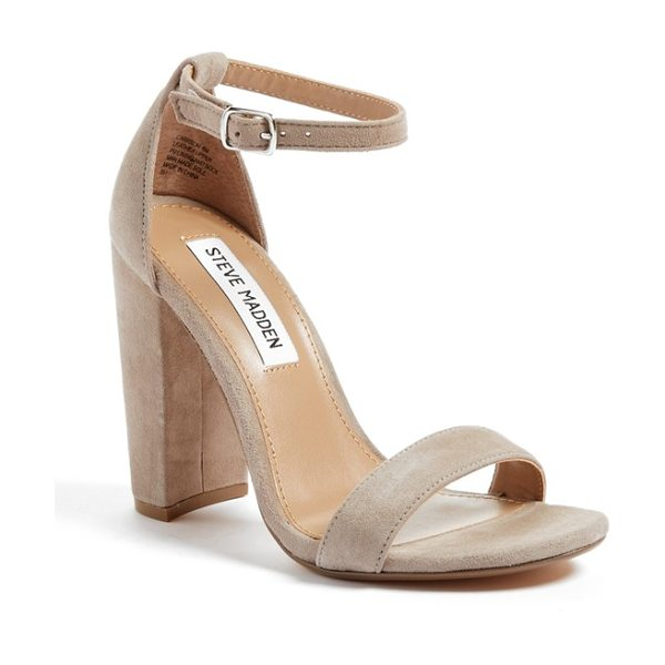 Steve Madden carrson sandal in taupe suede - A minimalist ankle-strap sandal is set on a chunky heel....