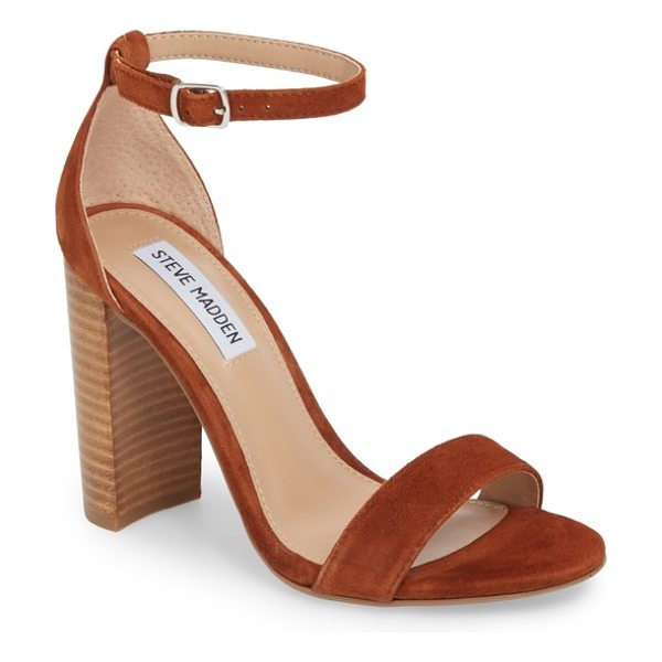 Steve Madden carrson sandal in chestnut multi - A minimalist ankle-strap sandal is set on a chunky heel....