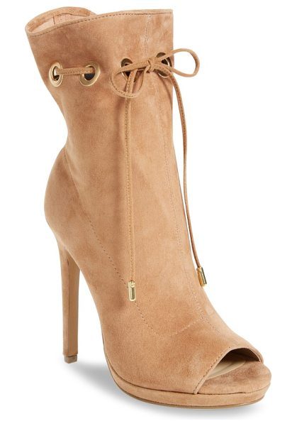 Steve Madden cavalier open toe bootie in camel suede - An ultra-slender suede band laces decoratively through...