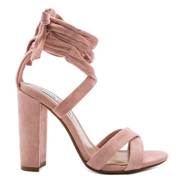 Steve Madden Christey Heel in light pink - Suede upper with man made sole. Wrap ankle with tie...