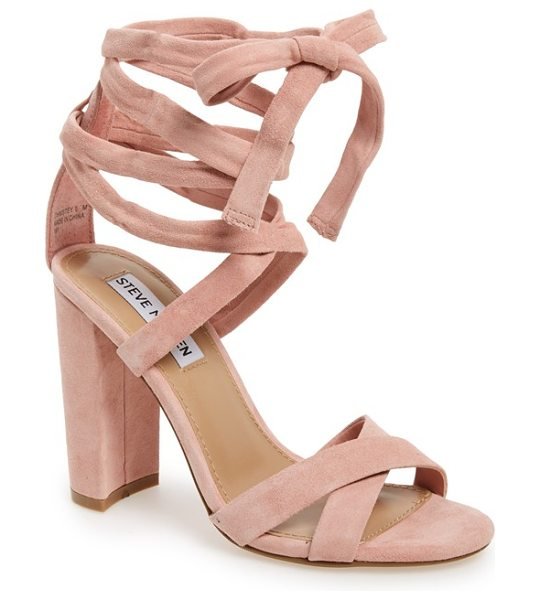 Steve Madden 'christey' wraparound ankle tie sandal in light pink - A wrapped, half-moon heel grounds a trend-right suede...