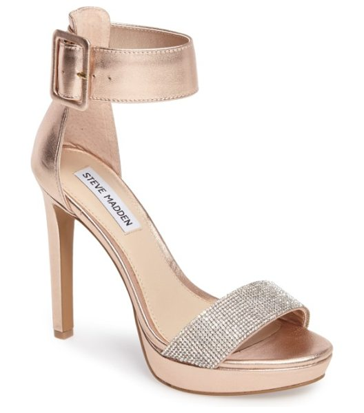Steve Madden circuit sandal in rose gold leather - A wide ankle cuff adds bold, sophisticated style to a...