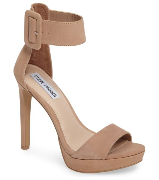 Steve Madden circuit sandal in tan nubuck leather - A wide ankle cuff adds bold, sophisticated style to a...