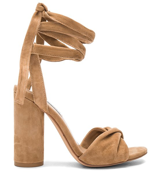 Steve Madden Clary Heel in tan - Suede upper with man made sole. Wrap ankle with tie...