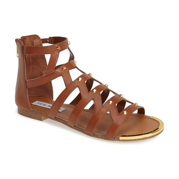 Steve Madden claudiaa studded gladiator sandal in cognac - Gleaming cone studs punctuate the cutout straps of this...