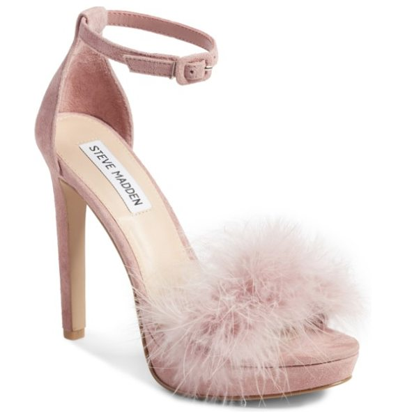 Steve Madden clutch ankle strap sandal in rose suede - With a feathery strap and slim, sky-high heel, this...