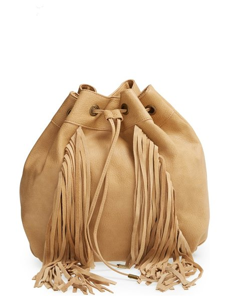 Steve Madden Convertible drawstring backpack in camel - 70s-inspired suede fringe extends the boho-chic appeal...