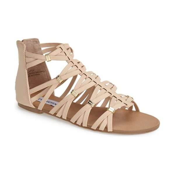Steve Madden cretee strappy gladiator sandal in bone - Woven straps gathered by gleaming hardware set this...