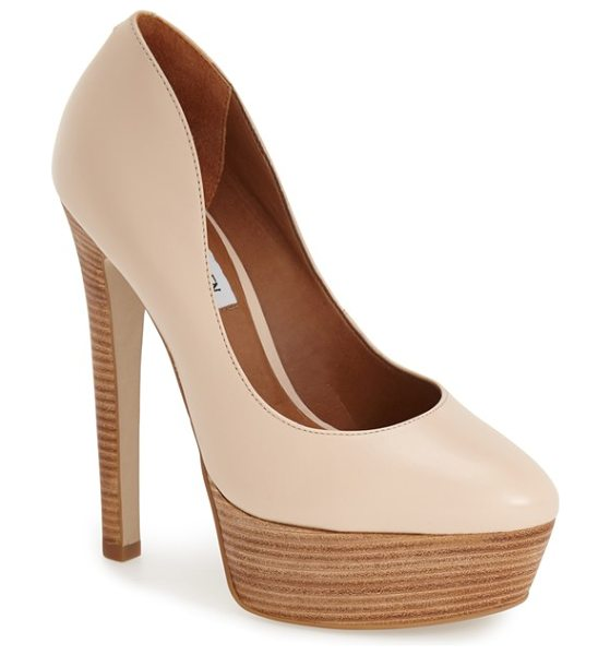 STEVE MADDEN daeva pump in nude leather - A towering stacked heel and thick platform enhance a...