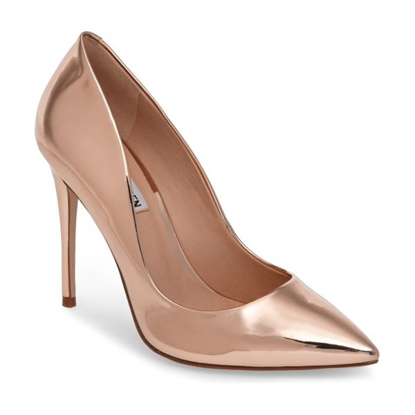 Steve Madden daisie pointy-toe pump in rose gold - A towering stiletto and a dramatically pointy toe bring...