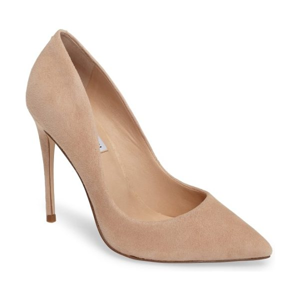 Steve Madden daisie pointy-toe pump in blush suede - A towering stiletto and a dramatically pointy toe bring...