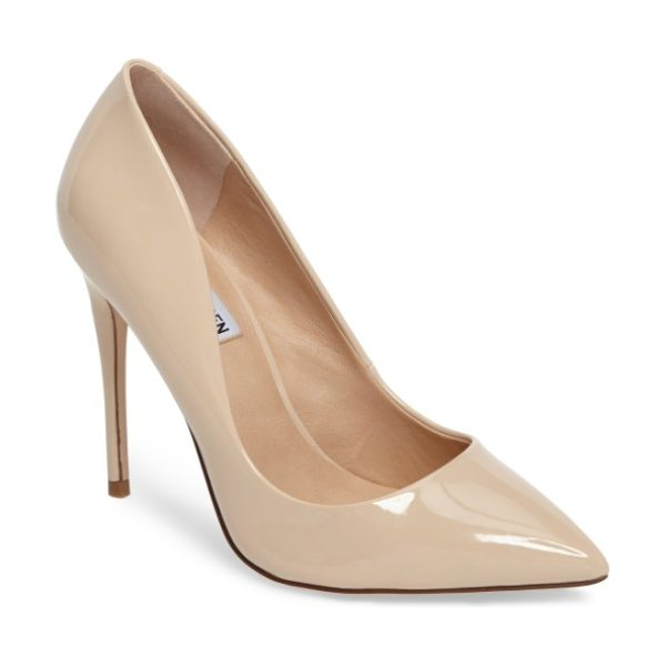 Steve Madden daisie pointy-toe pump in blush patent leather - A towering stiletto and a dramatically pointy toe bring...