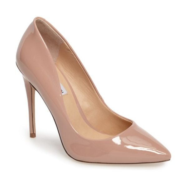 Steve Madden daisie pointy-toe pump in beige - A towering stiletto and a dramatically pointy toe bring...
