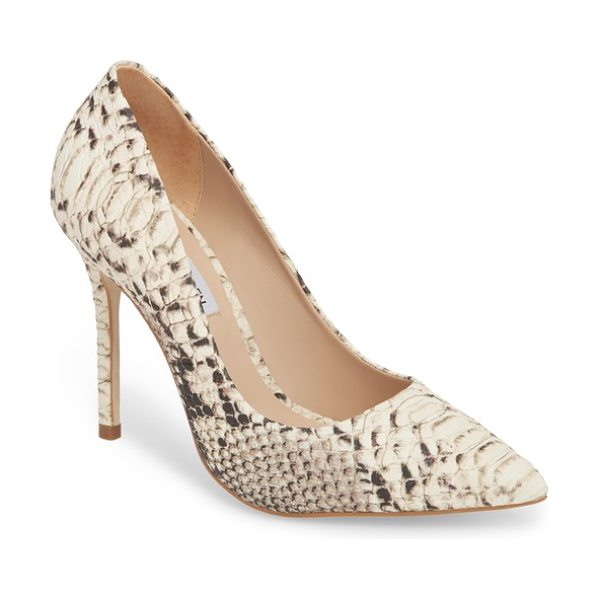 Steve Madden daisie pointy-toe pump in natural snake - A towering stiletto and a dramatically pointy toe bring...